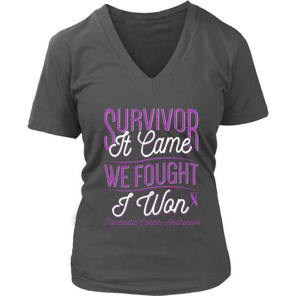 Survivor It Came We Fought I Won Pancreatic Cancer Awareness Gift VNeck TShirt-T-shirt-District Womens V-Neck-Grey-JoyHip.Com