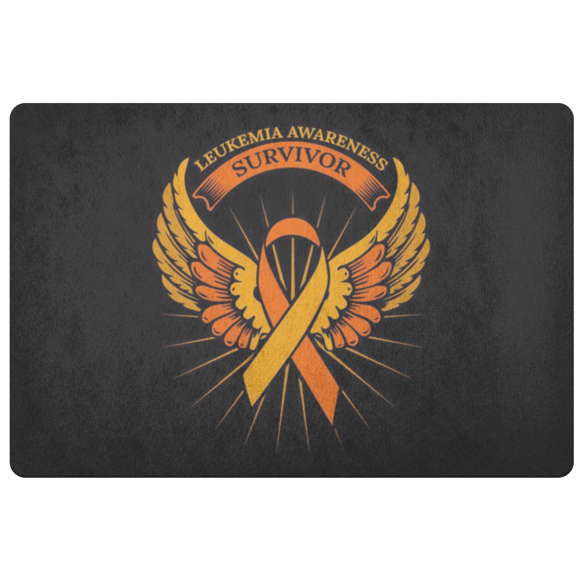 Survivor Orange Angel Wing Leukemia Cancer 18X26 Thin Indoor Door Mat Entryway-Doormat-Black-JoyHip.Com