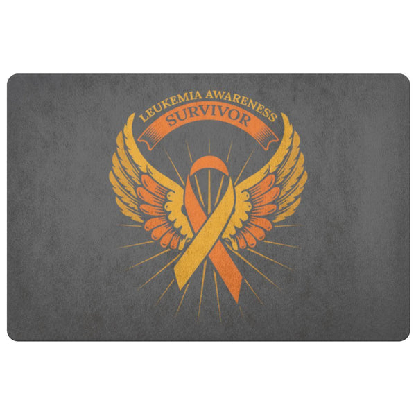 Survivor Orange Angel Wing Leukemia Cancer 18X26 Thin Indoor Door Mat Entryway-Doormat-Grey-JoyHip.Com