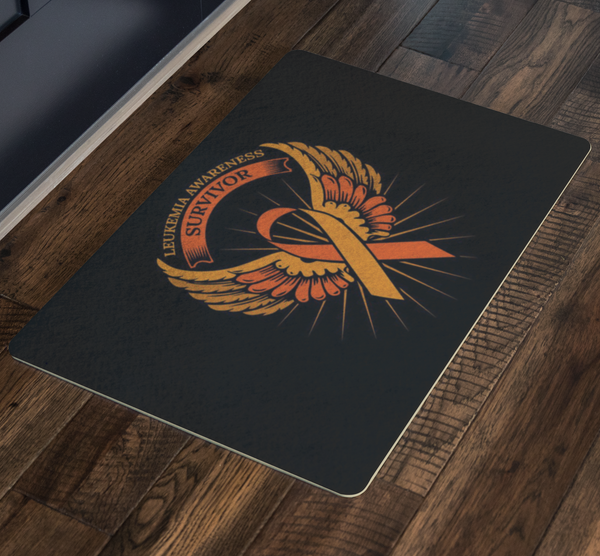 Survivor Orange Angel Wing Leukemia Cancer 18X26 Thin Indoor Door Mat Entryway-Doormat-JoyHip.Com