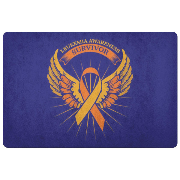 Survivor Orange Angel Wing Leukemia Cancer 18X26 Thin Indoor Door Mat Entryway-Doormat-Navy-JoyHip.Com