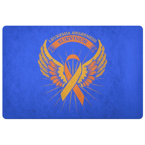 Survivor Orange Angel Wing Leukemia Cancer 18X26 Thin Indoor Door Mat Entryway-Doormat-Royal Blue-JoyHip.Com