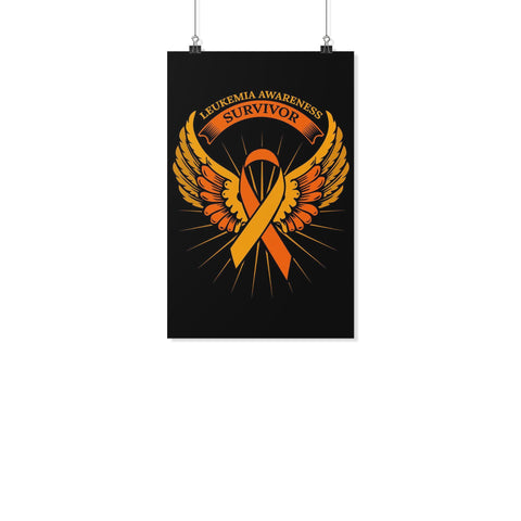 Survivor Orange Angel Wing Leukemia Cancer Motivational Posters Wall Art Decor-Posters 2-11x17-JoyHip.Com