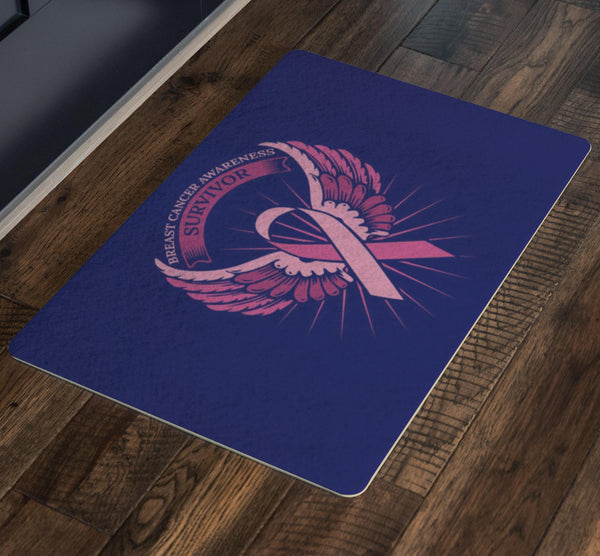 Survivor Pink Angel Wing Breast Cancer 18X26 Thin Indoor Door Mat Entryway Rug-Doormat-JoyHip.Com