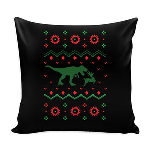 T-Rex Dinosaur VS Reindeer Funny Festive Funny Ugly Christmas Holiday Sweater Decorative Throw Pillow Cases Cover(4 Colors)-Pillows-Black-JoyHip.Com