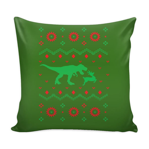 T-Rex Dinosaur VS Reindeer Funny Festive Funny Ugly Christmas Holiday Sweater Decorative Throw Pillow Cases Cover(4 Colors)-Pillows-Green-JoyHip.Com