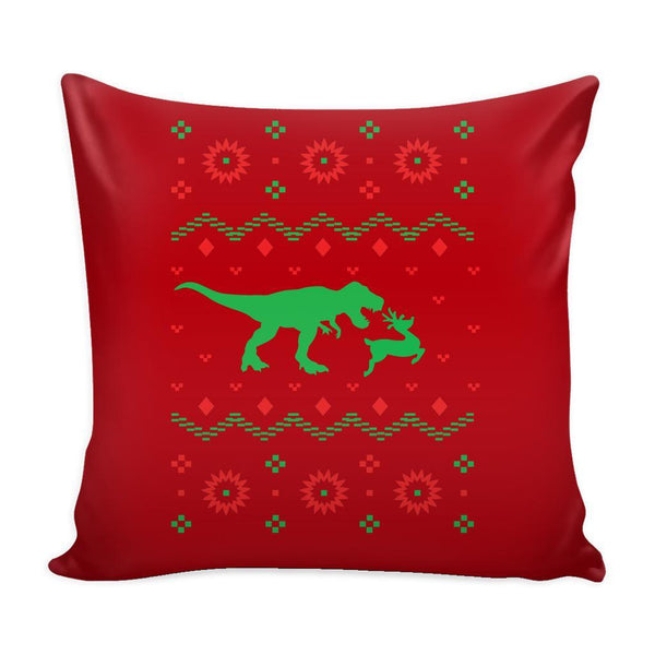 T-Rex Dinosaur VS Reindeer Funny Festive Funny Ugly Christmas Holiday Sweater Decorative Throw Pillow Cases Cover(4 Colors)-Pillows-Red-JoyHip.Com