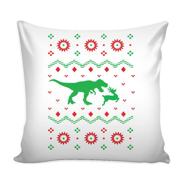 T-Rex Dinosaur VS Reindeer Funny Festive Funny Ugly Christmas Holiday Sweater Decorative Throw Pillow Cases Cover(4 Colors)-Pillows-White-JoyHip.Com