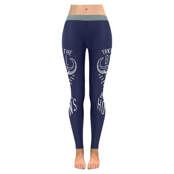 Take The Bull By The Horns Inspirational Motivational Quotes Womens Leggings-JoyHip.Com