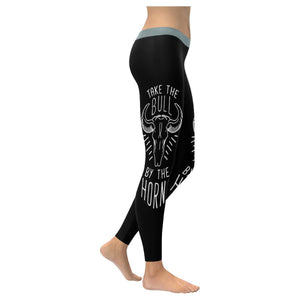 Take The Bull By The Horns Inspirational Motivational Quotes Womens Leggings-XXS-Black-JoyHip.Com