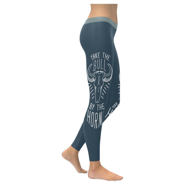 Take The Bull By The Horns Inspirational Motivational Quotes Womens Leggings-XXS-Grey-JoyHip.Com