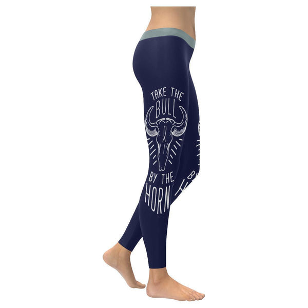 Take The Bull By The Horns Inspirational Motivational Quotes Womens Leggings-XXS-Navy-JoyHip.Com