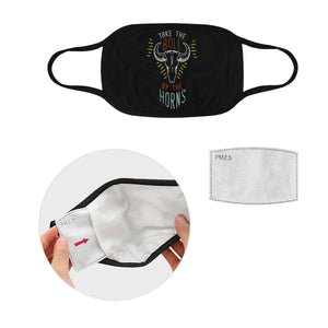 Take The Bull By The Horns Washable Reusable Cloth Face Mask With Filter Pocket-Face Mask-S-Black-JoyHip.Com