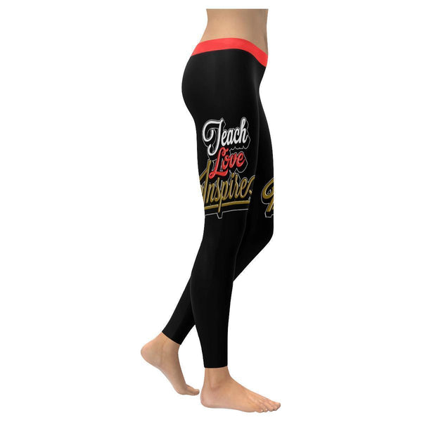 Teach Love Inspire Cool Meaningful Funny Teachers Day Gift Ideas Womens Leggings-XXS-Black-JoyHip.Com