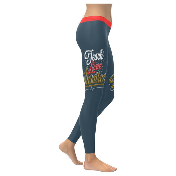 Teach Love Inspire Cool Meaningful Funny Teachers Day Gift Ideas Womens Leggings-XXS-Grey-JoyHip.Com