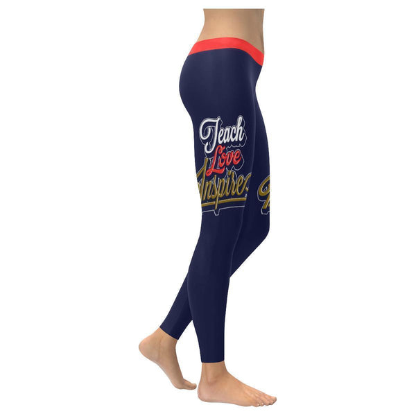 Teach Love Inspire Cool Meaningful Funny Teachers Day Gift Ideas Womens Leggings-XXS-Navy-JoyHip.Com