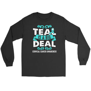 Teal Is A Big Deal Cervical Cancer Awareness Product Unique Gift Long Sleeve-T-shirt-Gildan Long Sleeve Tee-Black-JoyHip.Com