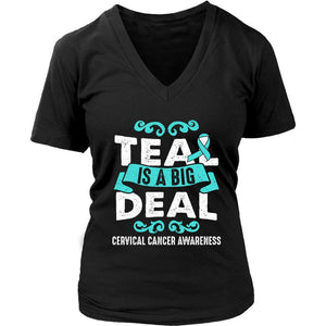 Teal Is A Big Deal Cervical Cancer Awareness Product Unique Gift VNeck TShirt-T-shirt-District Womens V-Neck-Black-JoyHip.Com
