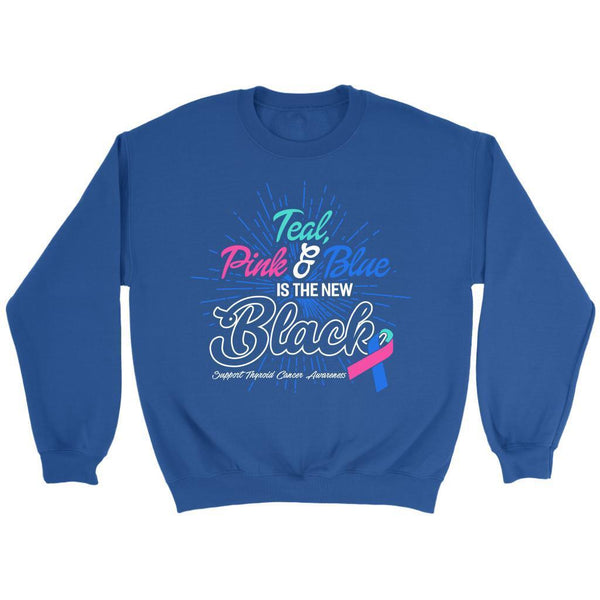Teal Pink & Blue Is The New Black Support Thyroid Cancer Awareness Gift Sweater-T-shirt-Crewneck Sweatshirt-Royal Blue-JoyHip.Com