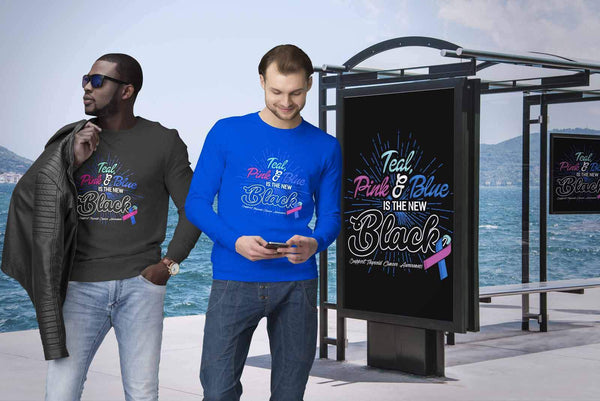Teal Pink & Blue Is The New Black Support Thyroid Cancer Awareness Gift Sweater-T-shirt-JoyHip.Com