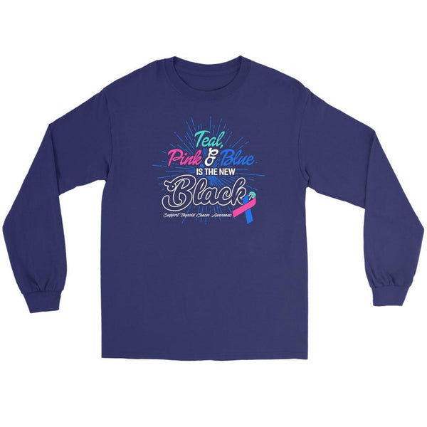 Teal Pink & Blue Is The New Black Support Thyroid Cancer Awareness Long Sleeve-T-shirt-Gildan Long Sleeve Tee-Purple-JoyHip.Com
