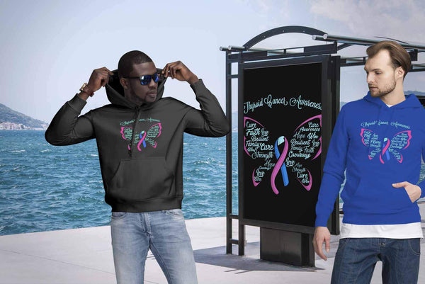 Teal Pink & Blue Ribbon Butterfly Thyroid Cancer Awareness Awesome Gift Hoodie-T-shirt-JoyHip.Com