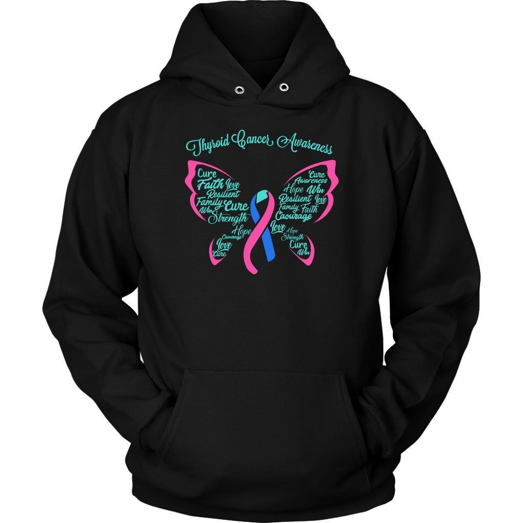 Teal Pink & Blue Ribbon Butterfly Thyroid Cancer Awareness Awesome Gift Hoodie-T-shirt-Unisex Hoodie-Black-JoyHip.Com