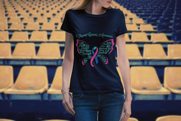 Teal Pink & Blue Ribbon Butterfly Thyroid Cancer Awareness Awesome Women TShirt-T-shirt-JoyHip.Com