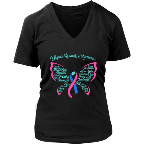 Teal Pink Blue Ribbon Butterfly Thyroid Cancer Awareness Cool Gift VNeck TShirt-T-shirt-District Womens V-Neck-Black-JoyHip.Com