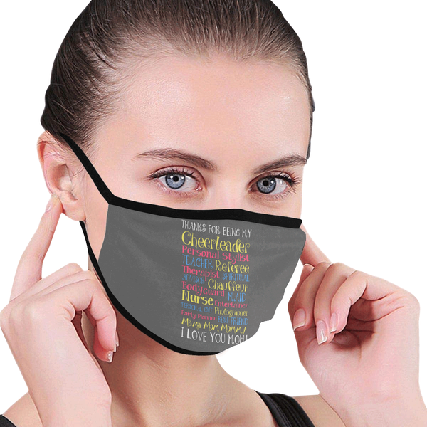 Thanks For Being I Love You Mom Washable Reusable Face Mask With Filter Pocket-Face Mask-JoyHip.Com