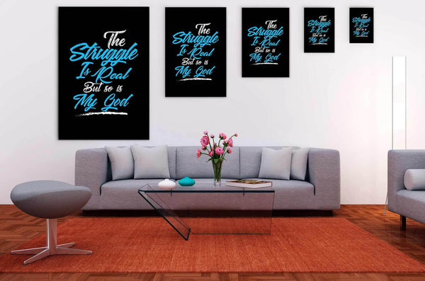The Struggle Is Real But So Is My God Christian Canvas Wall Art Room Decor Gift-Canvas Wall Art 2-JoyHip.Com
