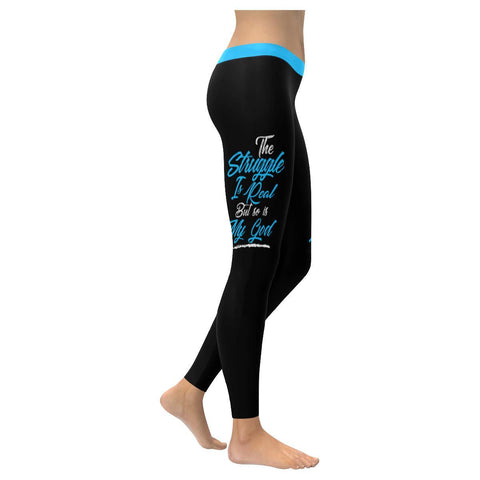 The Struggle Is Real But So Is My God Soft Leggings For Women Cute Christian-XXS-Black-JoyHip.Com