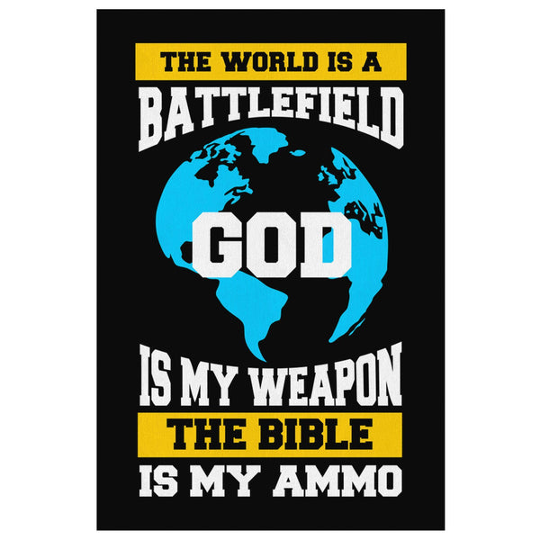 The World A Battlefield God My Weapon The Bible Ammo Christian Canvas Wall Art-Canvas Wall Art 2-8 x 12-JoyHip.Com