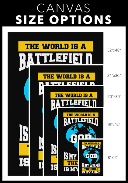 The World A Battlefield God My Weapon The Bible Ammo Christian Canvas Wall Art-Canvas Wall Art 2-JoyHip.Com