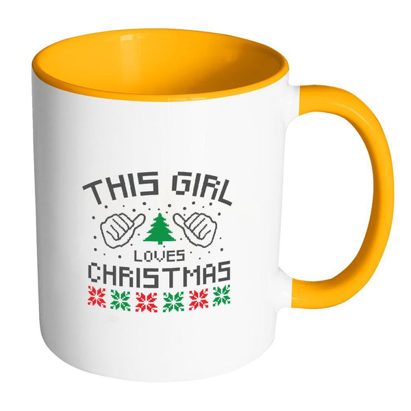 This Girl Loves Christmas Funny Ugly Christmas Holiday Sweater 11oz Accent Coffee Mug (7 Colors)-Drinkware-Accent Mug - Orange-JoyHip.Com