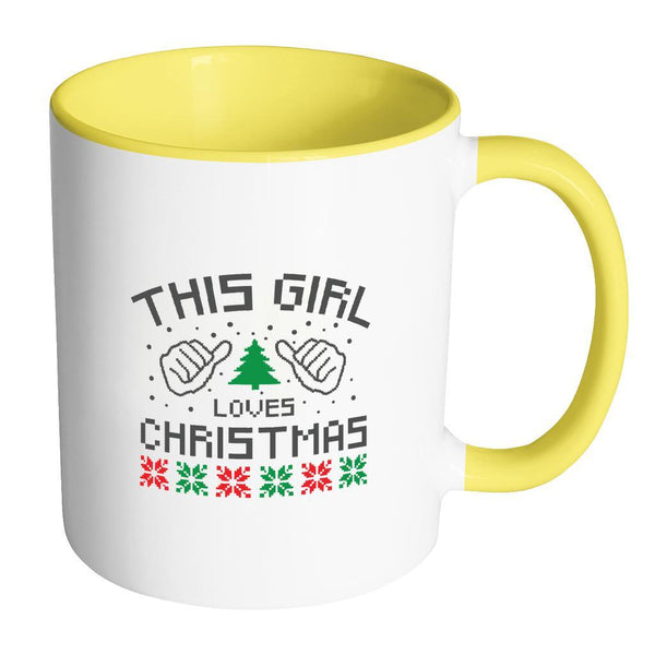 This Girl Loves Christmas Funny Ugly Christmas Holiday Sweater 11oz Accent Coffee Mug (7 Colors)-Drinkware-Accent Mug - Yellow-JoyHip.Com