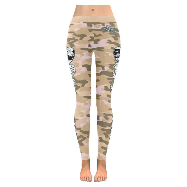 This Lady Loves Camping Navy Inspired Blue Camouflage Pattern Womens Leggings-JoyHip.Com