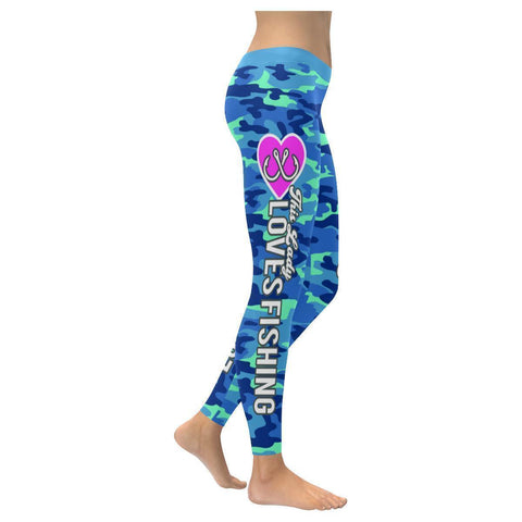 This Lady Loves Fishing Navy Inspired Blue Camouflage Pattern Womens Leggings-XXS-Navy-JoyHip.Com