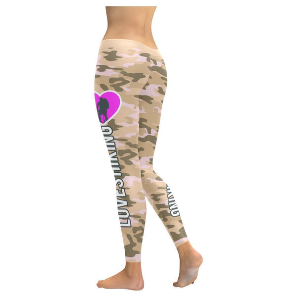 This Lady Loves Hiking Navy Inspired Blue Camouflage Pattern Womens Leggings-JoyHip.Com