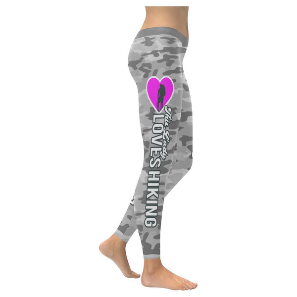 This Lady Loves Hiking Navy Inspired Blue Camouflage Pattern Womens Leggings-XXS-Grey-JoyHip.Com