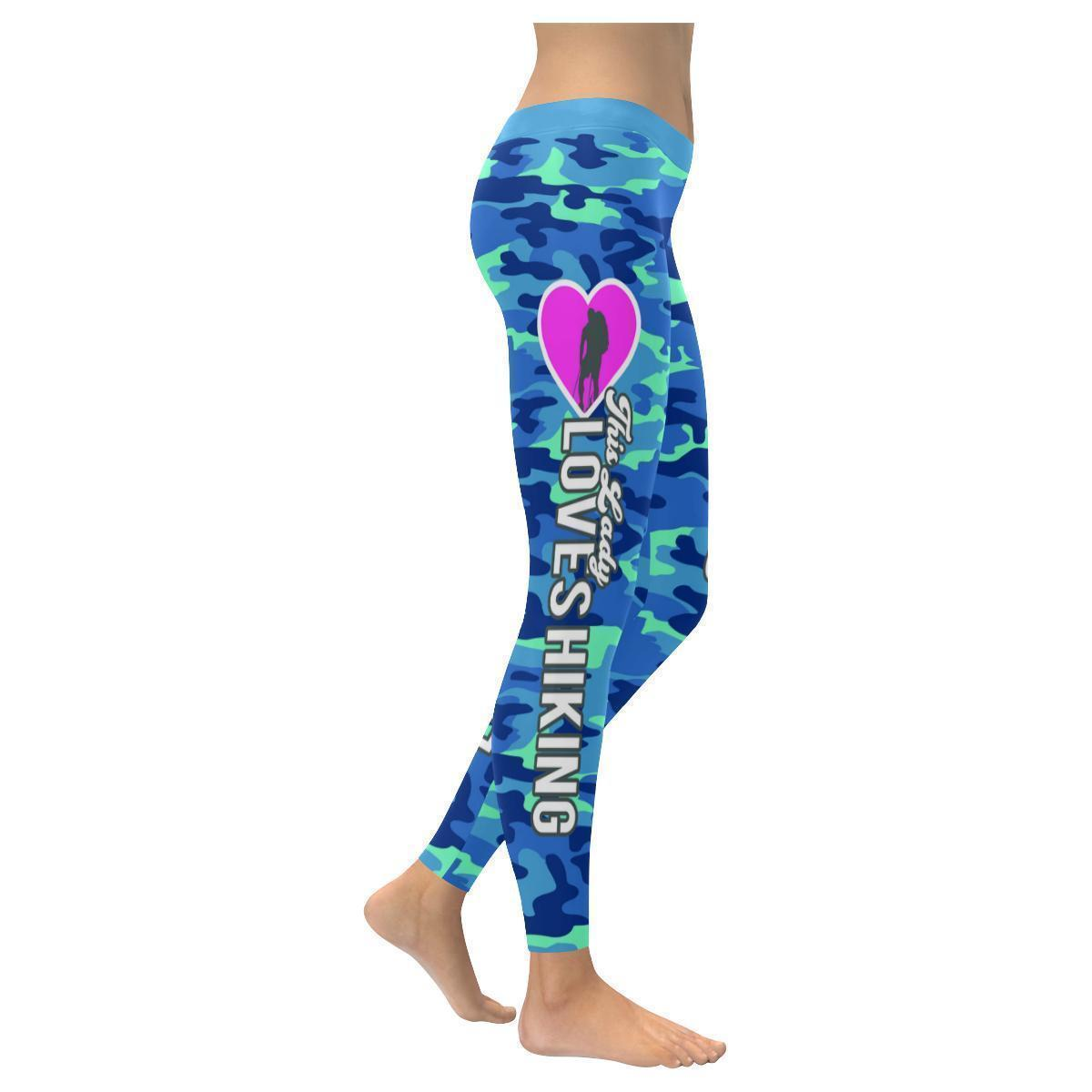 This Lady Loves Hiking Navy Inspired Blue Camouflage Pattern Womens Leggings-XXS-Navy-JoyHip.Com