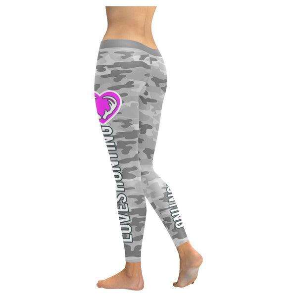 This Lady Loves Hunting Navy Inspired Blue Camouflage Pattern Womens Leggings-JoyHip.Com