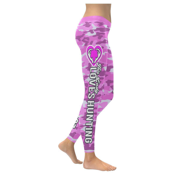 This Lady Loves Hunting Navy Inspired Blue Camouflage Pattern Womens Leggings-XXS-Magenta-JoyHip.Com