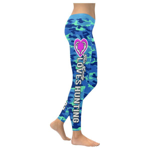 This Lady Loves Hunting Navy Inspired Blue Camouflage Pattern Womens Leggings-XXS-Navy-JoyHip.Com