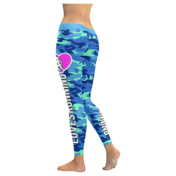 This Lady Loves Running Navy Inspired Blue Camouflage Pattern Womens Leggings-JoyHip.Com
