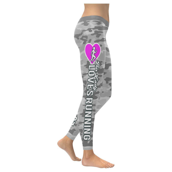 This Lady Loves Running Navy Inspired Blue Camouflage Pattern Womens Leggings-XXS-Grey-JoyHip.Com