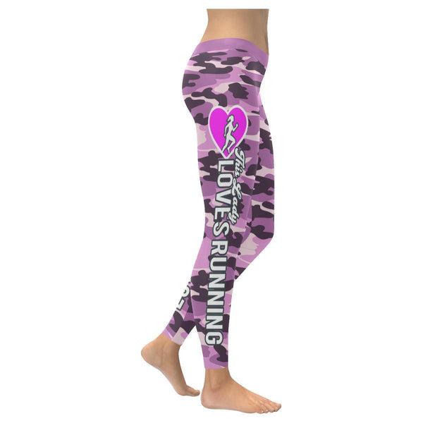 This Lady Loves Running Navy Inspired Blue Camouflage Pattern Womens Leggings-XXS-Violet-JoyHip.Com