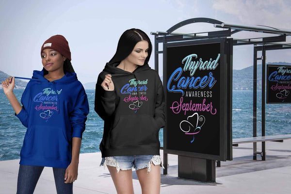 Thyroid Cancer Awareness September Teal Pink & Blue Ribbon Awesome Gift Hoodie-T-shirt-JoyHip.Com