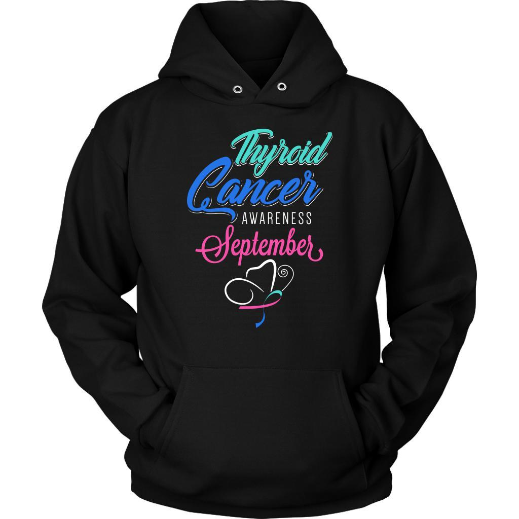 Thyroid Cancer Awareness September Teal Pink & Blue Ribbon Awesome Gift Hoodie-T-shirt-Unisex Hoodie-Black-JoyHip.Com