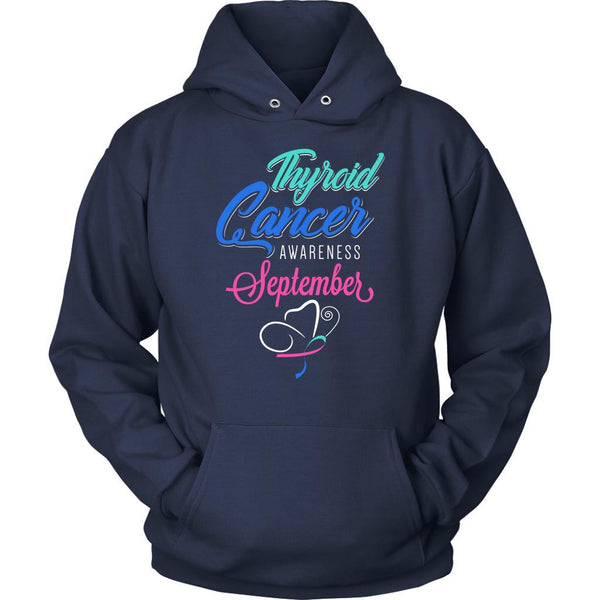 Thyroid Cancer Awareness September Teal Pink & Blue Ribbon Awesome Gift Hoodie-T-shirt-Unisex Hoodie-Navy-JoyHip.Com